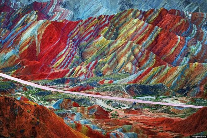 This collection of colorfully striped mountains is real